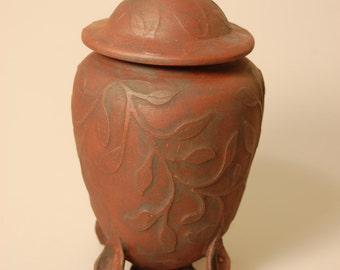 Lidded Vessel Carved Urn Natures Wanderings KH1358 Cremation Baby Ashes Child Infant Pet Handmade