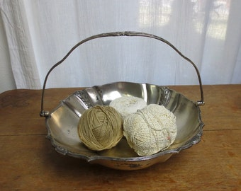 Vintage Metal Basket Embossed with Hinged Handle