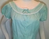 Mint Green Mexican PEASANT BLOUSE -Vintage Cotton by Judy Bond -- White Pom-Pom Trim w/ Buttons & Bow - Medium