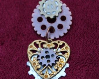 Gear Heart Steampunk Pin