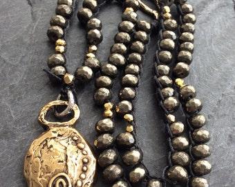 Crochet pyrite necklace - Beaded necklace, Golden pyrite necklace, crochet jewelry, gift for women by mollymoojewels