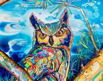 Owl-Art by Jen Callahan Tile,Cuttingboard,Paper Print