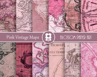 Maps Digital Paper, Pink Old Maps, Antique Maps, Digital Paper Pack Vintage Maps Old Maps Scrapbooking - INSTANT DOWNLOAD - 1982