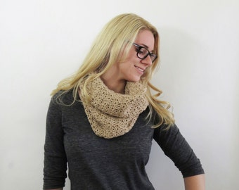 Beige Cowl Scarf. Taupe Crochet Scarf. Lace Circle Scarf. Lacey Eternity Scarf. Textured Scarf. Womens Fall Accessories. Knit Cowl Scarf.