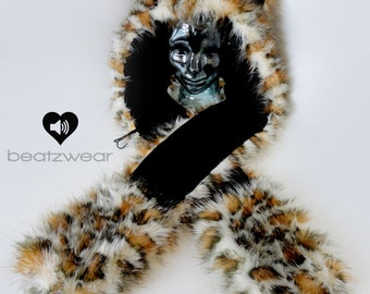 CUSTOM Kitty scoodie - leopard rave kitty hat faux fur animal hood furry scarf halloween costume cat hat rave hood