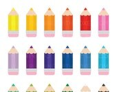 Chunky Color Pencil Clip Art | Cute Simple Drawing Class Supplies Graphic | Digital Illustration Stock Icons | Personal or Commercial Use