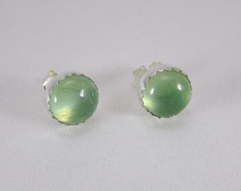 Prehnite stud earrings sterling silver posts