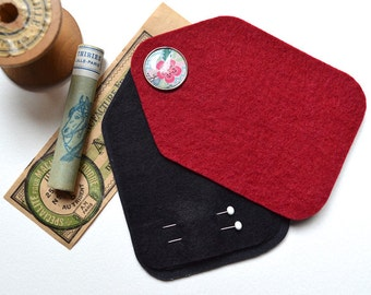 SPECIAL OFFER ! Sewing Needle Case - Needle Holder - Marsala Felt - Handmade