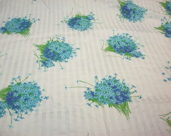 MOD BOUQUET FABRIC 4 Yards Flowers Floral Turquoise Purple Aqua Green White Stripe Unused Vintage Re-Purpose
