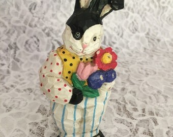 Painted Rabbit Figurine, Bunny Rabbit Collectible, Rabbit Knick Knack, Easter Decor