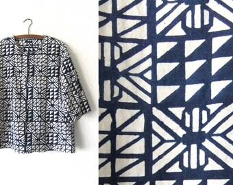 Shibori Tunic Top - Japanese Cropped Sleeve Boho Chic Flowy Peasant Top - Womens XL