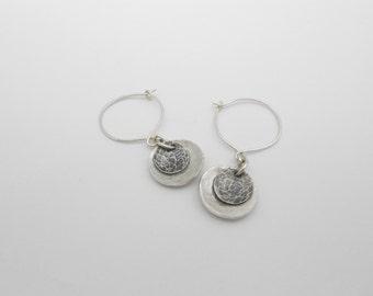 Silver Disk Earrings, Fine Silver, Metal Clay
