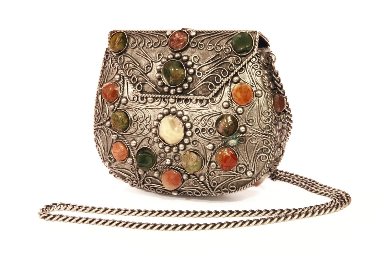 Metal Gemstone Purse Filigree Metal Bag Coin Jewelry Bag