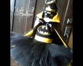 Batman 4 Piece Tutu Dress SET - US Shipping INCLUDED Girls Costume Straps Bat Girl Mask Headband Black Yellow Symbol Superhero Satin Cape