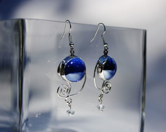 Indigo Blue Stained Glass Drop Earrings Swirl Motion Design Original Handcrafted Jewelry