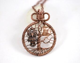 Mini Tree-Of-Life & Night Owl Pendant Copper Wire Wrapped Pendant Wired Copper Jewelry Wire Wrapped Tree-Of-Life Owl Pendant Unisex