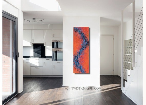 Limited edition abstract Painting / Textured Industrial painting/ red and Blue abstract painting (48 x 16) / Palette knife painting/