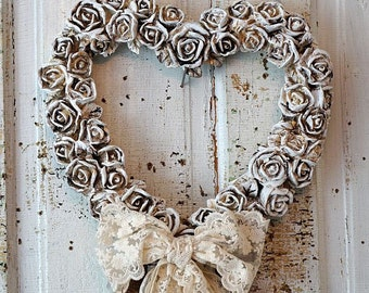 Ornate heart wreath wall hanging w/ carved roses painted white shabby cottage chic tattered fabric lace home decor anita spero design