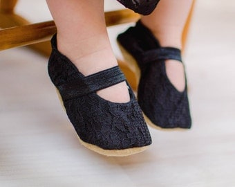 black mary janes, lace baby shoes black lace booties black shoes funeral baby lace shoes for girl cloth mary janes vegan baby soft sole shoe