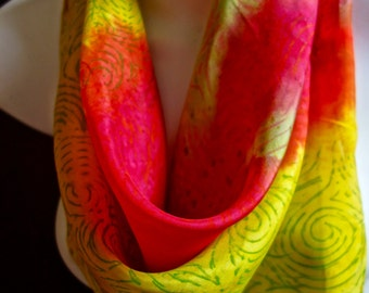 Popsicle lemon,Cherry  / One of a kind square SILK SCARF for Women. Hand Painted Silk Scarf by New York Artist Joan Reese/100% Silk