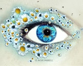 Wall Art, Eye Print, Gift For Women, Flower Wall Decor, Large Wall Art Print, Surreal, Nature Photography, Blue Wall Art, Science Art