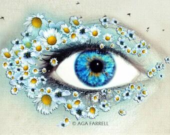 Wall Art, Eye Print, Gift For Women, Flower Wall Decor, Large Wall Art Print, Surreal, Nature Photography, Blue Wall Art, Science Art