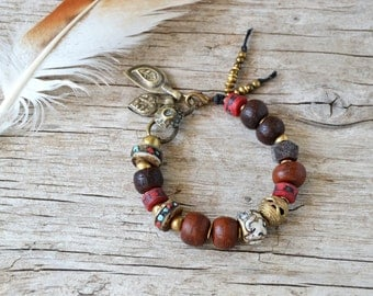 Om Mani Padme Hum yoga bracelet - yoga jewelry - bohemian bracelet - boho jewelry - yoga bracelet - ethnic jewelry