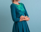 Emerald iriss - Skater dress / Autumn dress / Folded skirt