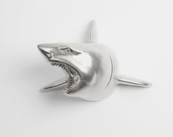 Shark Head Faux Taxidermy - The Lewie in Silver - Silver Resin Shark Head - Shark Resin White Faux Taxidermy - Chic & Trendy Fish Mount