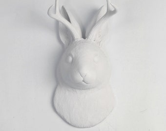 White Faux Taxidermy Jackalope - The Corduroy in White - Wall Art - Resin Jackrabbit Head- Jackalope Mount -Faux Animal Bunny & Easter Decor