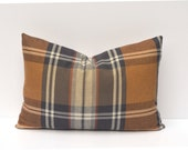 Brown Tan Tartan Plaid Pillow Cover
