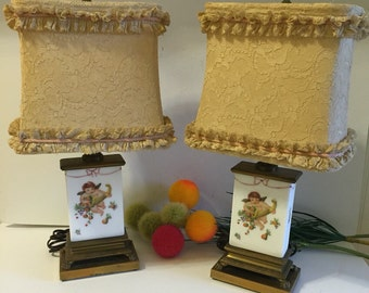 Pair of Lamps HANDPAINTED CHERUB ANGELS, Lion's Feet, Handpainted, Brass, French Provencial, Cottage Chic, Romantic Home at Ageless Alchemy