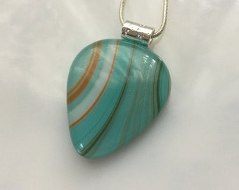 Guitar Pick Pendant, Fused Glass Jewelry, Turquoise Orange Art Glass Guitar Pick Necklace