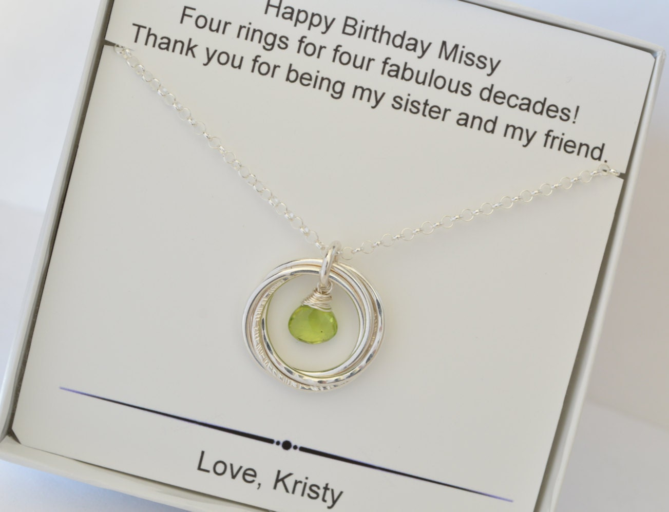 40th birthday gift for sister 4th anniversary gift sister 40th birthday gift for sister 4th anniversary gift sister jewelry peridot necklace august birthstone jewelry4 sisters best friend neck negle Gallery