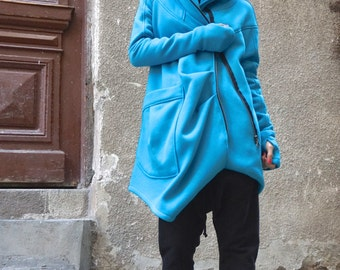 NEW Lined Warm Asymmetric Extravagant Turquoise Hooded Coat / Quilted Lined Cotton Jacket / Thumb Holes / Outside and Inside pockets A07177