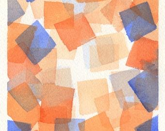Original Cubist Painting - Abstract Watercolor - Geometric Art - Squares - Blue - Orange - 5 x 7