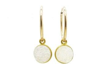 White Druzy Earrings, Gemstone Hoop Earrings, Druzy Jewelry, Gold Filled Hoop Earrings with Druzy Stone, Drusy Earrings, Minimalist Earrings