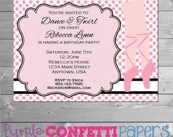 Ballerina Birthday Invitation, Dance Party Invitation, Dance Birthday Invitation, Dance Invite, Girl Birthday Party, Ballerina, Ballet Party