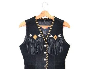 Boho Vest Hippy Vest Hippie Vest Leather Vest Fringe Vest Southerstern Vest Black Leather Vest Size Small