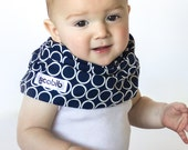 """Modern Bib (Navy Circles) All in One Scarf & Bib """"Scabib for babies or toddlers"""