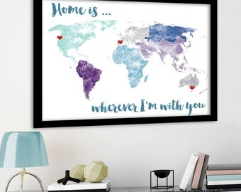 Large world map poster etsy large world map poster print or printable with watercolour texture choice of background gumiabroncs Gallery