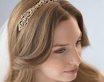 Gold Wedding Headband, Vintage Bridal Headband, Gold Headpiece, Crystal Headband, Gold Bridal Headpiece, Bridal Hair Accessory ~TI-3215-G