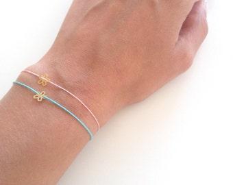 Lucky bracelet, string bracelet, Tiny flower bracelet, Delicate lucky jewelry, Cotton bracelet