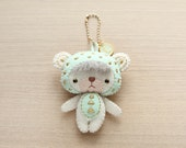 Geometric Bear Initial Mint charm Felt Keychain -  cute accessories -  Letter Initial Charm - Spring Bear plush - READY TO SHIP