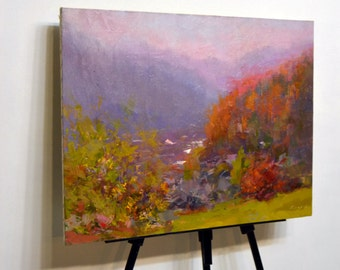 Unique gift original painting, Landscape wall art oil painting, Autumn trees painting, Impressionist art orange