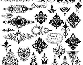 Digital Damask Clipart, Digital borders, Damask Element Clip Art, Damask ClipArt, clip art digital, stamps damask, damask clip art 0976