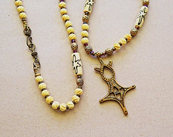 Coptic Cross and Antique carved bone and hand painted bone long necklace, Ethiopian, Tribal necklace,