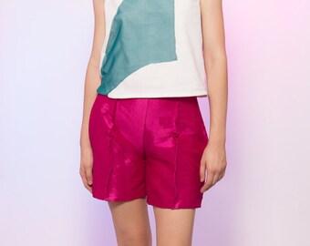 Shiny Bright Pink Silk Taffeta High Waisted Shorts