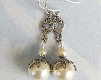 Vintage Inspired Pearl Bridal Earrings, Ivory, White Pearl Wedding Earrings Antique Silver Wedding Jewelry, Sterling Silver Vintage Earrings