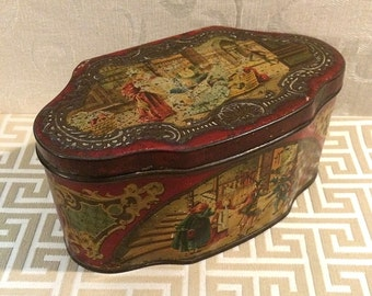 Fairy Tale, Folk Tale, Antique Biscuit Tin, Decorative Tin, Red Box, Candy Confection, European, c 1910, Edwardian, Trinket, Romantic Decor